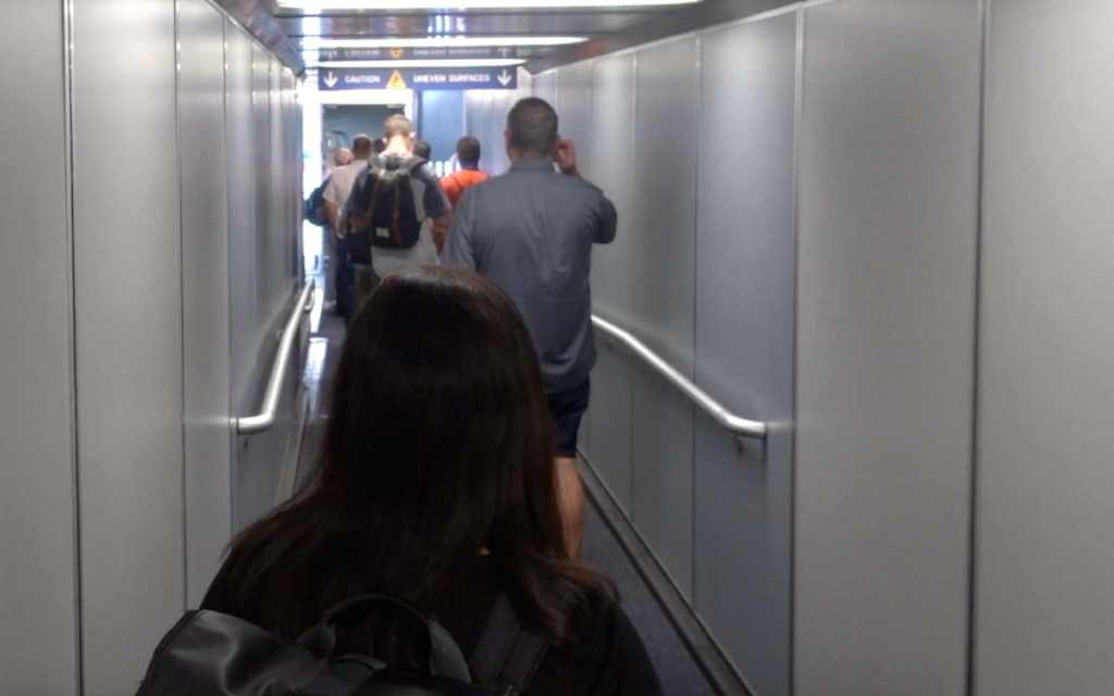 Crowded jetway at Sky Harbor International Airport