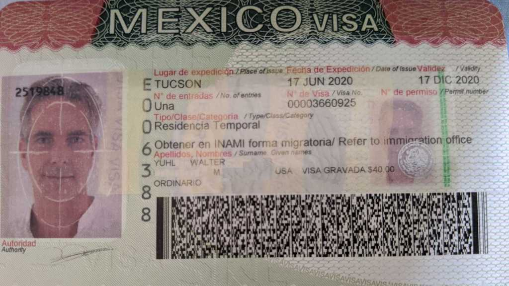 Way's temporary residency visa for Mexico
