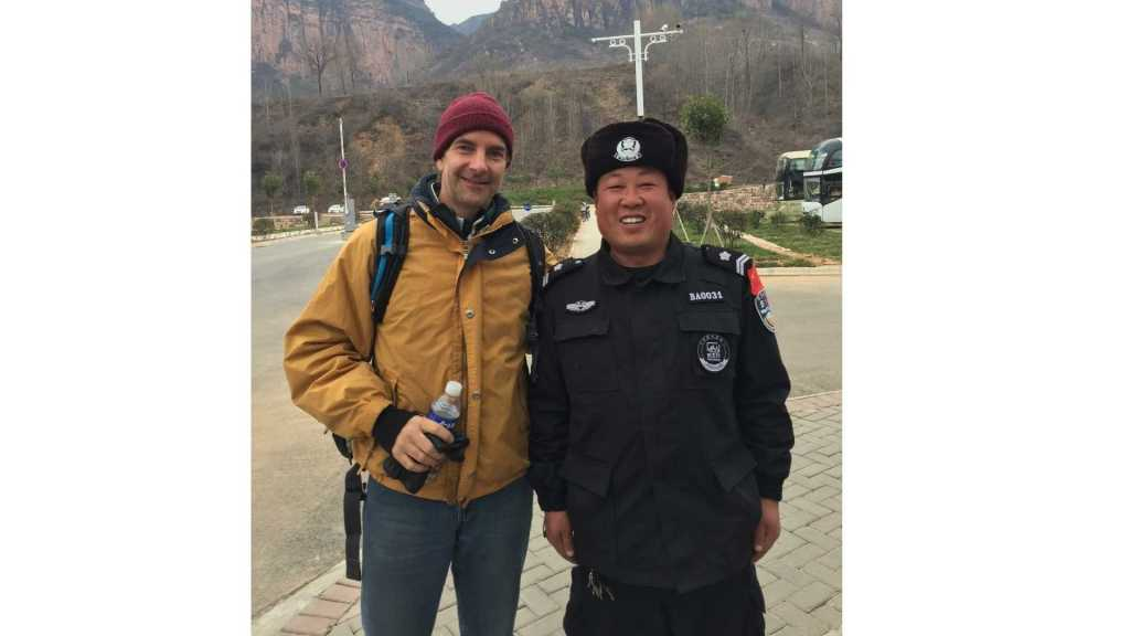 Way with a Chinese police officer in Northern China