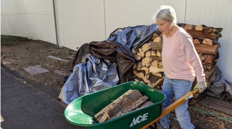 Mom wheelbarrowing wood in preparation for a power cut
