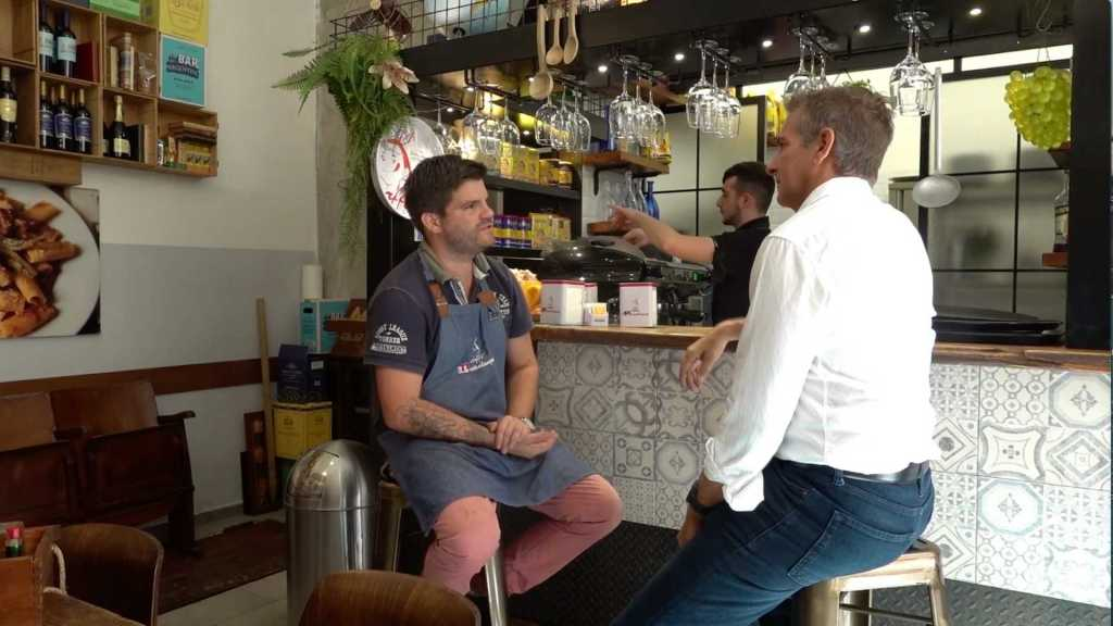 Way and chef Gerardo at Cafe Meme discussing Piccadilly Gnocchi