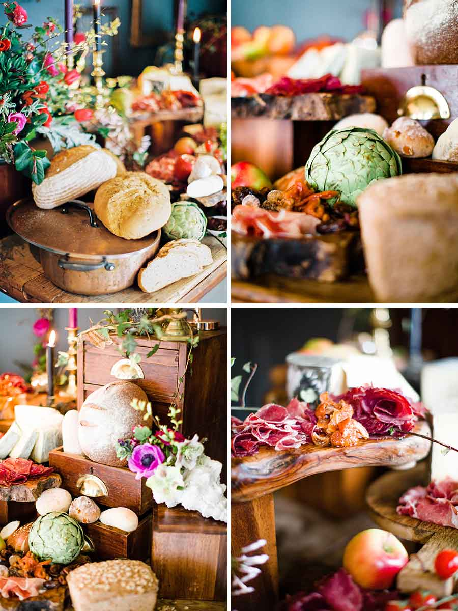 Rustic style cheese station