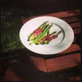Barbecued prosciutto-wrapped asparagus