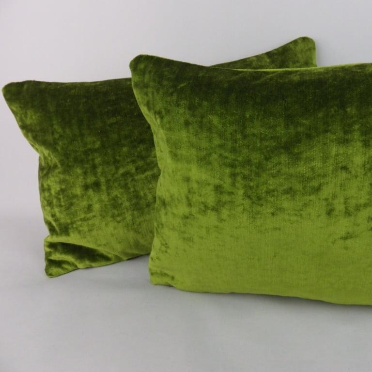 green crushed velvet lumbar pillow cushion