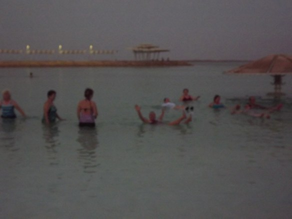 Mom floating in the Dead Sea
