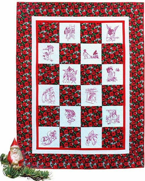 Christmas Pattern Embroidery Quilt Patterns Sewing Quilts Vintage Quilting Home Decor Cotton
