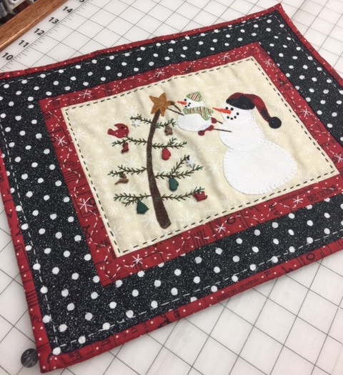 Snowman Quilt Kit Pattern Hand Embroidery Sewing Christmas Quilting