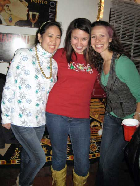 Jennifer, Kim and Cara at the ugly Christmas sweater party in DC.