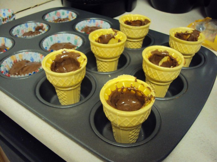 how to bake cupcakes in ice cream cones
