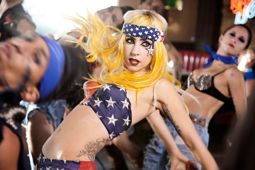 Lady Gaga telephone American flag stars and stripes