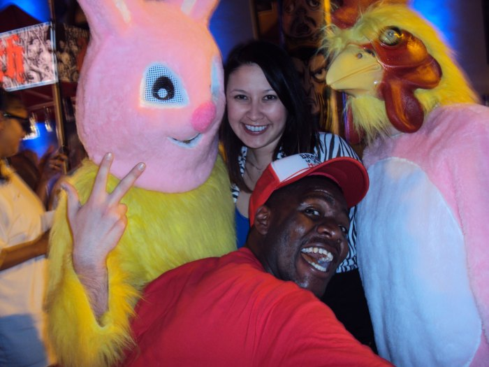 kimberlyloc with scary bunny and chicken