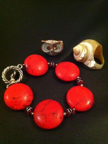 coral bracelet seashell ring turquoise owl ring