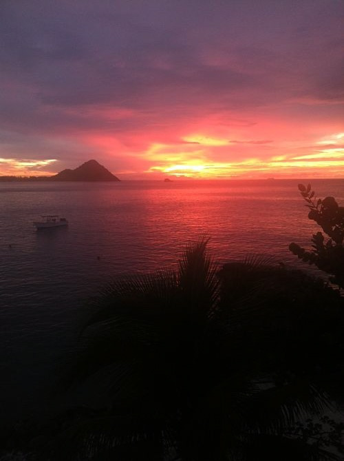 pink sunset at the bodyholiday in st. lucia