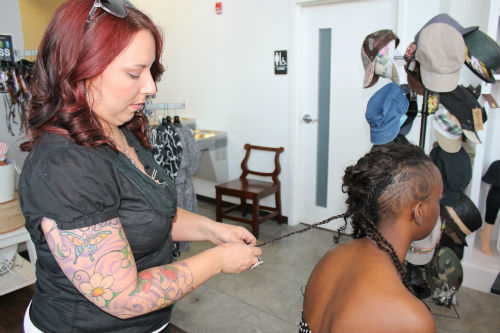 braiding hair backstage beauty dress to impress