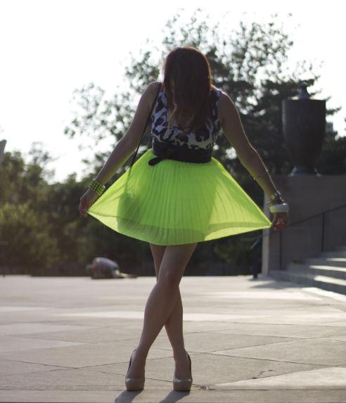 kimberlyloc urban outfitters neon green skirt