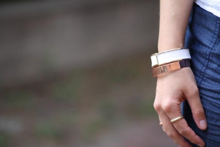 kimberlyloc rose gold and white h&m bracelets