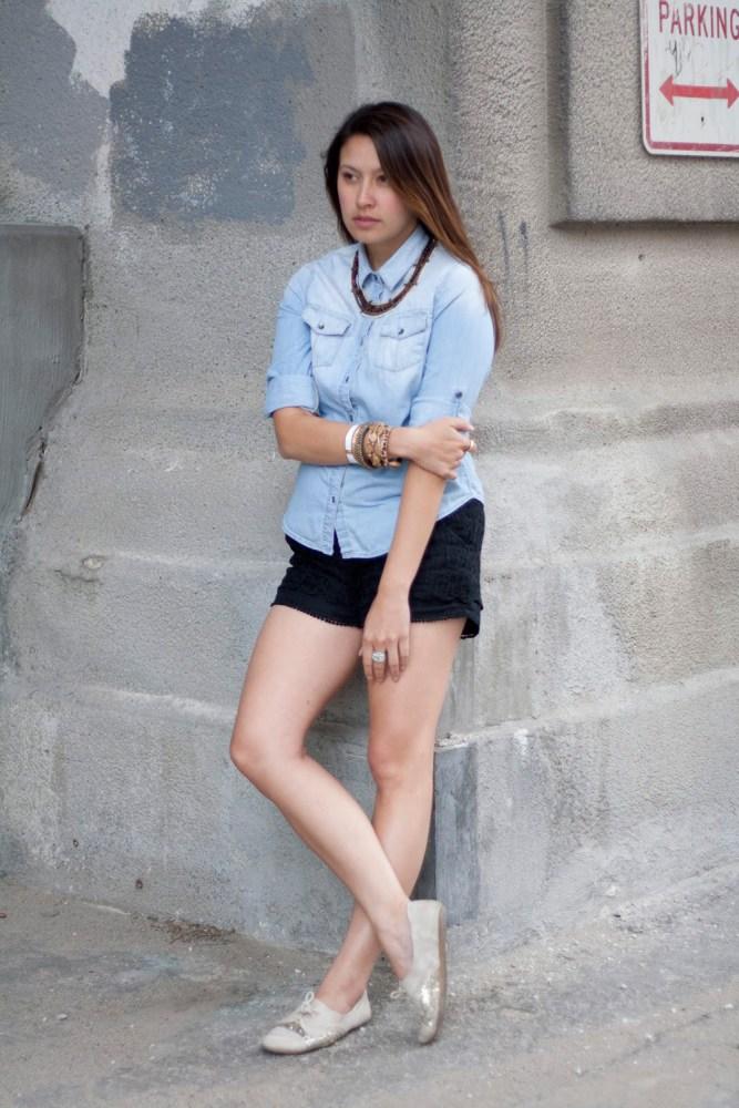 kimberlyloc chambray top lace shorts