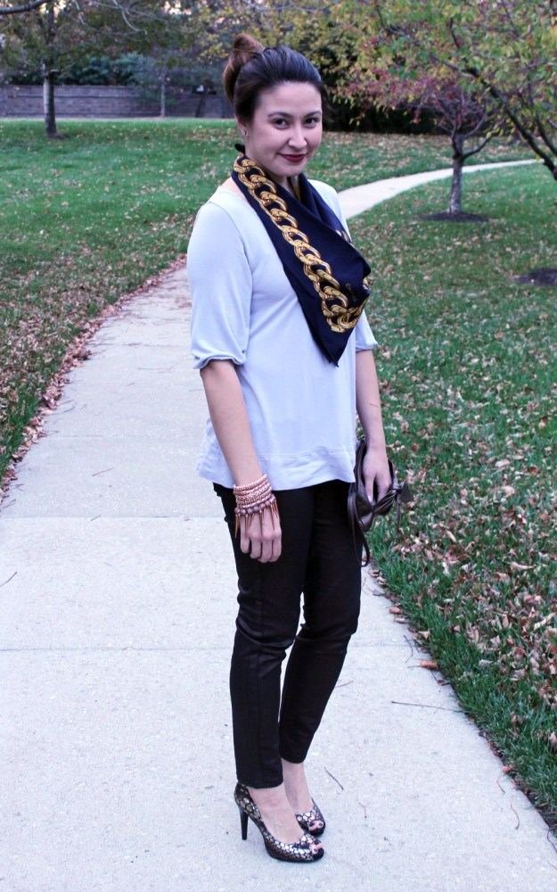 kimberlyloc wears a vintage chanel scarf, coated jeans from the limited and thrifted snakeskin heels