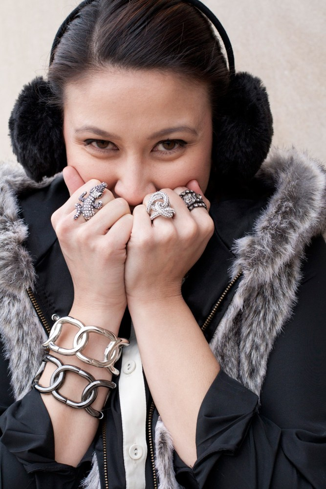 kimberlyloc wearing black earmuffs, charming charlie rings and saks fifth avenue off fifth bracelets