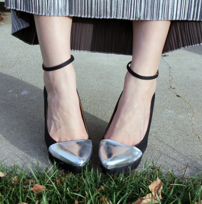 kimchi blue silver capped wedge shoes with ankle strap
