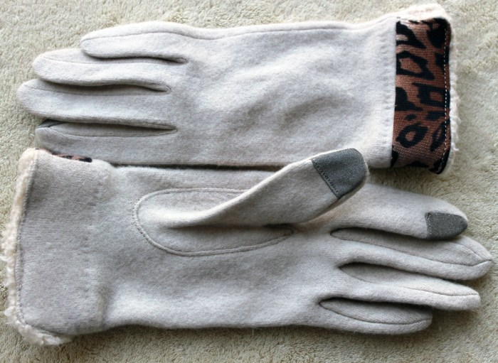 charming charlie text friendly gloves with leopard trim