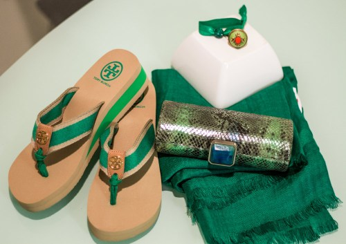 emerald tory burch flip flops hard shell clutch pashmina cocktail ring hair tye
