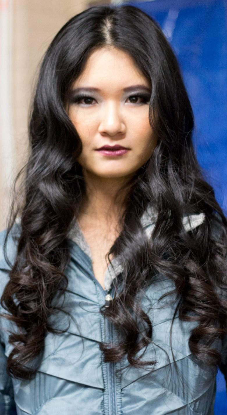 kansas city fashion week beauty jet black curls smoky eyes fuschia lips