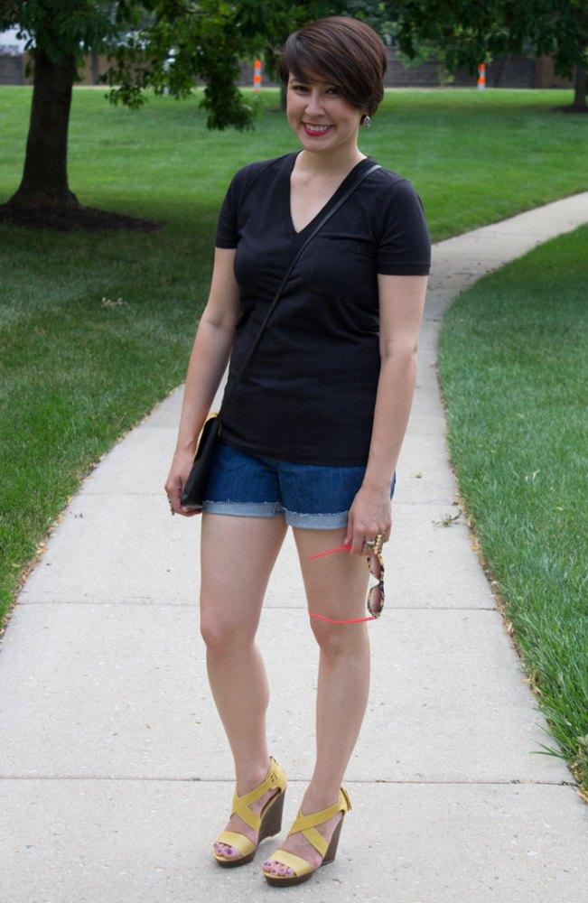 kimberlyloc outfit post summer uniform denim cutoffs