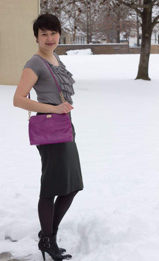 kimberlyloc wears a dark olive green na martin pencil skirt and violet hobo bag