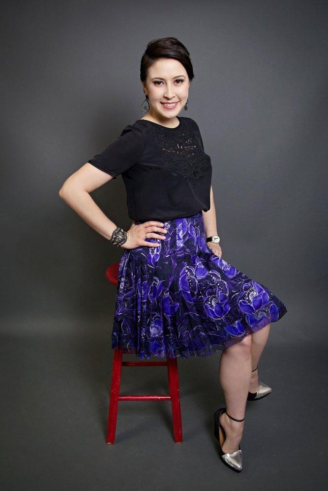 silk madewell top and pleate elie tahari skirt