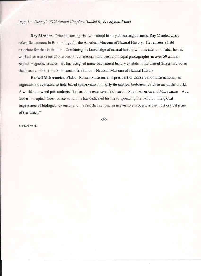 1995 Press Release announcing details of Disney's Animal Kingdom park
