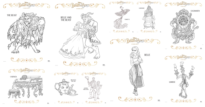 Theres Also A Set Of Bookmarks Door Hangers And Memory Game That You Can Print Out To Enjoy At Home Icon Beauty The Beast Coloring Pages