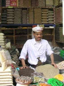 A merchant in the spice market in Sanaa.