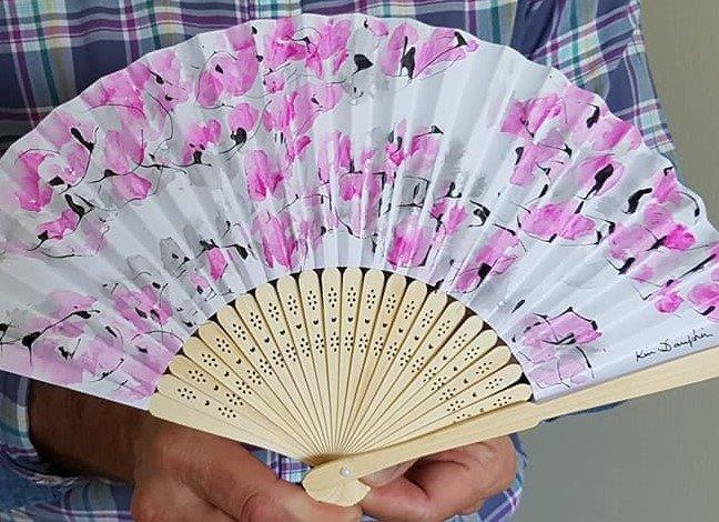Eventails, tons, rose, fleurs, rosées, Fans in pink tones, pink flowers