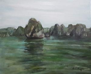 La Baie d'Halong (Halong Bay) – acrylique