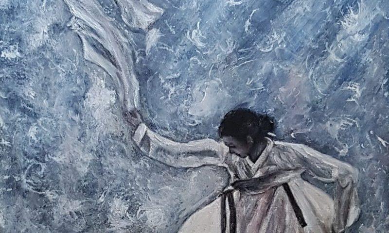 Peinture Kim Coréenne, le mouvement du foulard dans le vent, la légèreté, l'incertitude...Kim Korean painting, the movement of the scarf in the wind, uncertainty ...