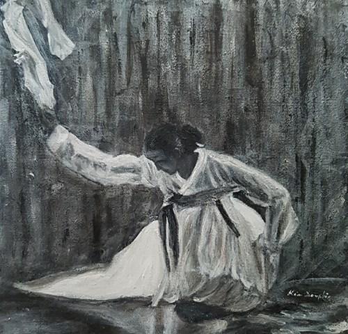 dame foulard blanc nuit obscurité pénombre lady white scarf night dark,