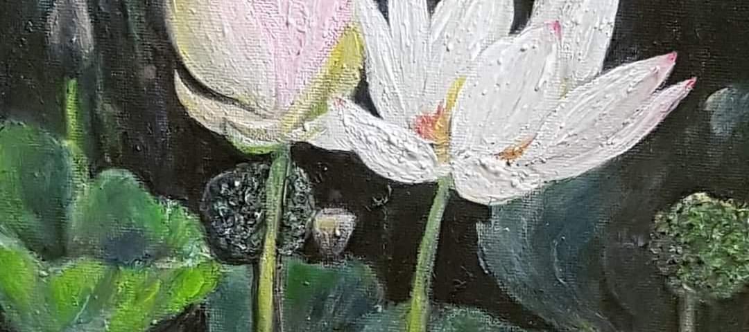 Les fleurs de lotus en toute singularité - acrylique, 25X30 cm (2020)