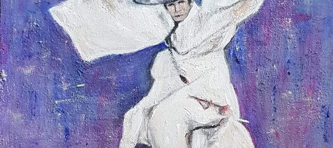 L'homme en plein élan - acrylique., 25X25 cm (2020)