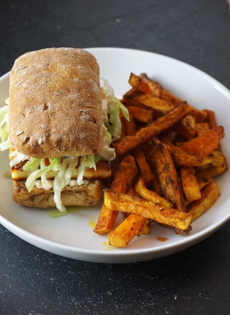 Gluten free paneer burgers and sweet potato fries