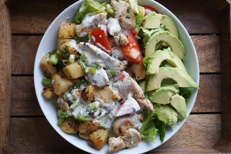 Chicken salad with potato cubes and a garlic mayo dressing