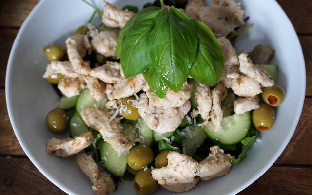 Parmesan Chicken Salad with Olives & Basil