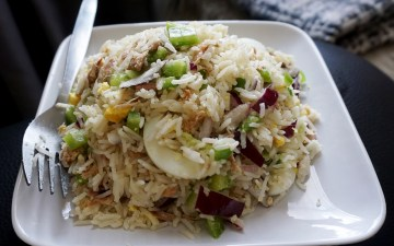 Easy healthy tuna rice salad recipe with eggs, onion and bell peppers