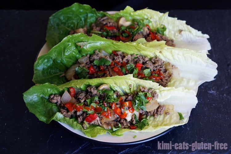Gluten free Thai chilli beef lettuce wraps