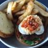 Gluten free Greek style lamb kofta burgers with goat cheese, hummus and a homemade salsa
