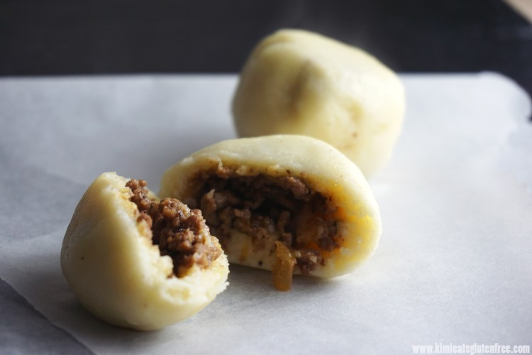Gluten free potato dumplings with a beef and onion filling