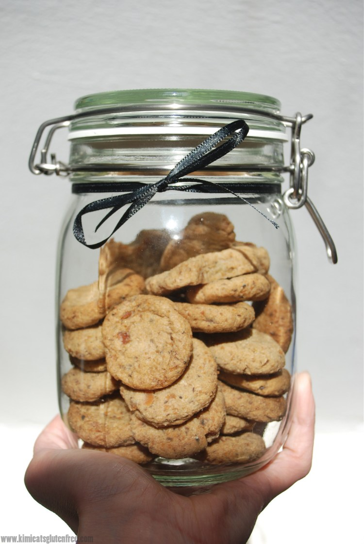 Jar of homemade sardine dog treats - gluten free dog cookies - www.kimieatsglutenfree.com