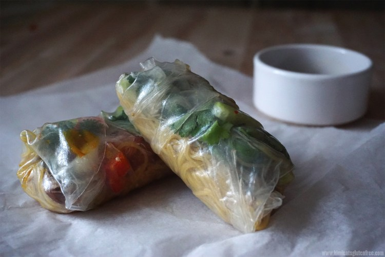 gluten free crispy duck spring rolls made with spring roll rice wrappers and singapore noodles