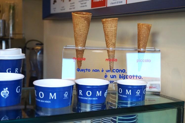 Grom gluten free cones - gluten free Venice guide