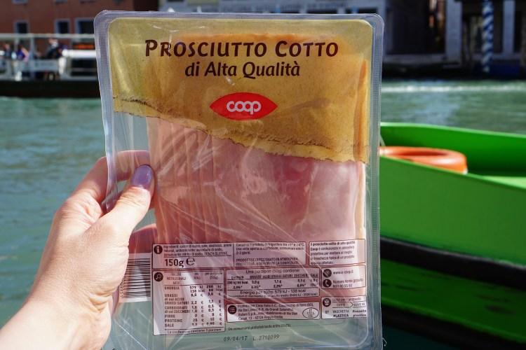 Gluten free prociutto from Coop in Venice - gluten free Venice guide